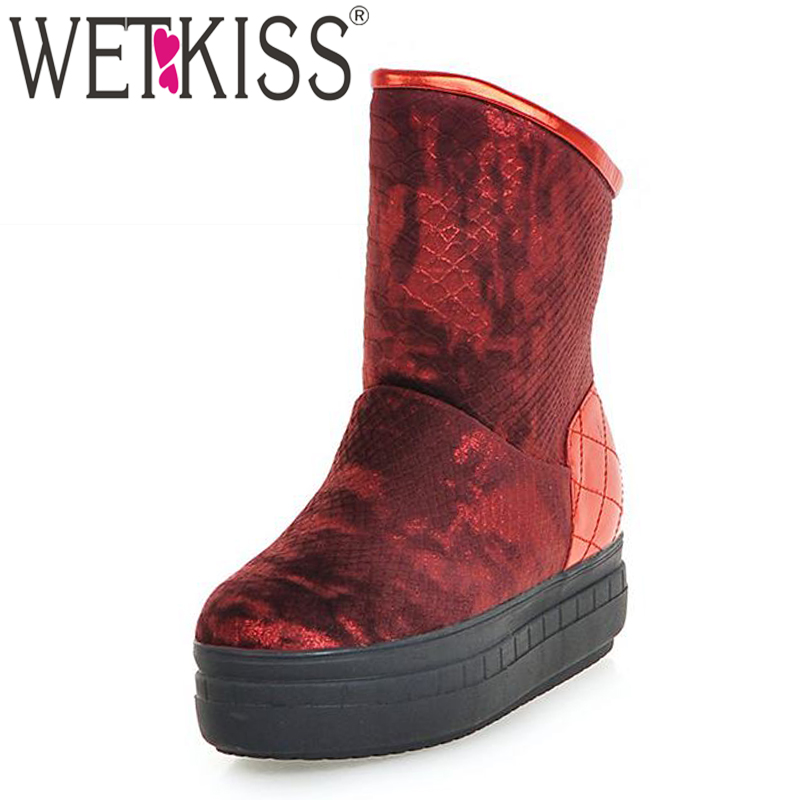 WETKISS Big Size 32-43 2016 New Winter Thick Sole Plush Snow Boots High Quality Shoes Woman Fashion Platform Winter Boots<br><br>Aliexpress