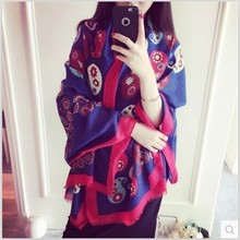 100CM*180CM red and blue color The summer folk style color cashew shawl sunscreen cotton print scarf shawl scarves Retro scarf