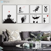 Banksy Black Modern Abstract Art Print Poster A4 Hippie Wall Picture Girls Urban Living Room Home Decor Canvas Painting No Frame(China)