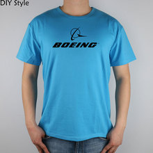 BOEING AEROPLANE LOGO short sleeve T-shirt Top Lycra Cotton Men T shirt New(China)