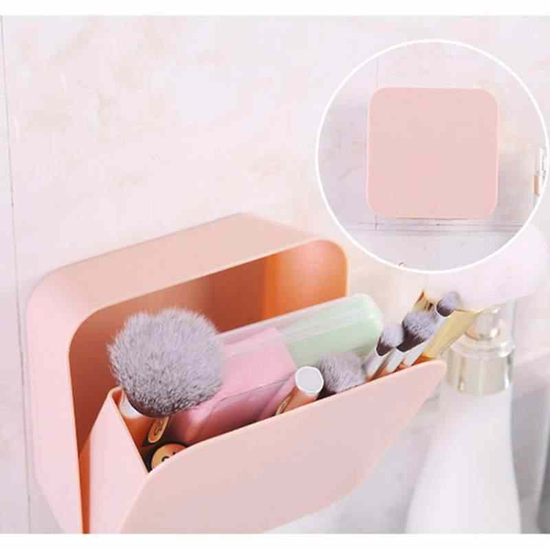 Plastic Waterproof Wall Mount Makeup Organizer Dustproof Kitchen Bathroom Storage Box Holder Home Groceries Household Container