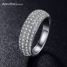 ANFASNI Fashion Style Simple Ring Silver Color and Rose Golden Color Micro Pave Clear AAA Cubic Zircon Rings Wholesale CRI0024