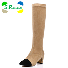 S.Romance Fashion Women Boots Plus Size 34-43 Round Toe Knee-High Lady Boots Winter Boot Woman Shoes Black Apricot Gray SB310