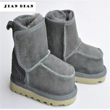 JIANDIAN Real Goat Fur Baby Boys Winter Snow Boots Kids Ugly Ankle Booties Children Genuine Leather Australia Shoes 1-4 yrs