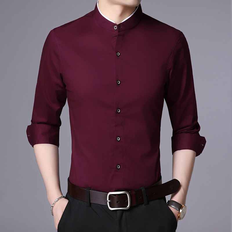 2019 new Spring autumn men stand collar long-sleeved shirts men's Slim business tide casual shirt 918518