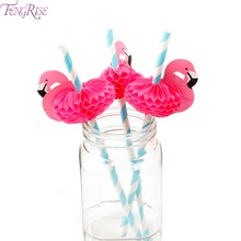 FENGRISE 12 Pieces Flamingo Paper Drinking Straws Wedding Decoration Birthday Flamingo Party Straws Hawaiian Party Decoration