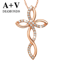free shipping 18K rose gold 0.56ct nature diamond cross pendant for women engagement anniversary(China)