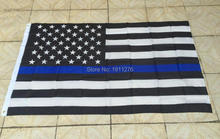 Blue Line usa Police Flags, 3 X 5 Ft Thin Blue Line USA Flag Black, White And Blue American Flag With Brass Grommets(China)