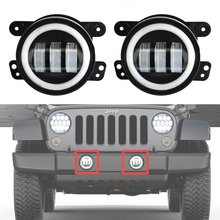 2PCS 4Inch Round Led Fog Lights 30W 6000K White Halo Ring DRL Off Road Fog Lamps For Jeep Wrangler JK TJ LJ Dodge Journey