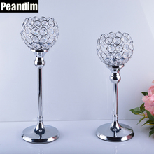 PEANDIM Wedding Centerpieces Candelabra Parties Decorations K9 Crystal Candlestick Shiny Silver Candle Holders 30cm and 35cm(China)
