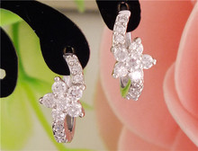 LUCKY YEAR  1pair Silver Color womens Clear CZ Zircon Flower hoop earrings