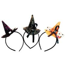 3pcs Halloween Headband Witch Hat Hair Hoop Headpiece for Halloween Costume Party (Gold & Orange & Rose Red)(China)