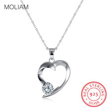 MOLIAM Genuine 925 Sterling Silver Pendant Necklace Heart Shape CZ Stone Wedding Necklaces Jewelry For Women 2017 New MLDYF056