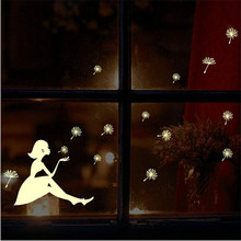 WallSticker Luminous little girl dandelion Wall Stickers Glow In The Dark Luminous Fluorescent PVC Wall Living Home Room Decor