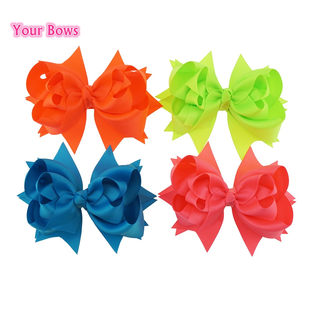 "5.5/"" Handmade Hairbows Baby Girl Toddler Alligator Clip Grosgrain Ribbon 16pcs"