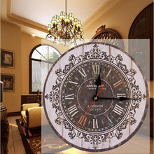 3D Large Decorative Wooden Wall Clocks Silent Round Quartz Vintage Style Room Wall Decor Clocks Home Decoration Watch Wall
