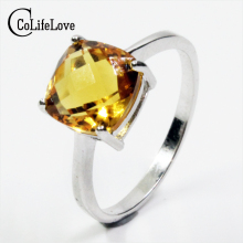 Hot sale luxury ring 2ct high quality 100% natural citrine ring real 925 Solid Sterling Silver jewelry for lady wedding ring(China)