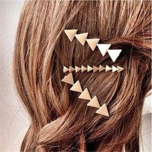 Simple Lady Hair Combs Gold Silver Plated Hair Accessories For Women Geometric Element Triangle Hair Clip Fashion Jewelry(China)