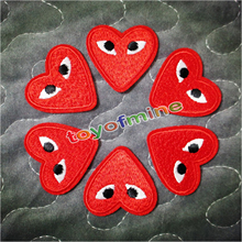 brand logo patches cartoon Red heart Embroidered iron on patch for clothing Jacket Applique DIY Accessory Free Shipping