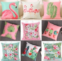 Summer Flower Birds Cushion Cover 40X40cm Palm Leaf Flamingo Cactus Soft Pillow Cases Pillow Covers Bedroom Sofa Decoration