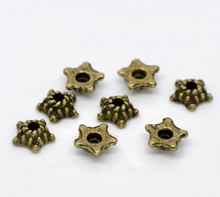 Fashion Jewelry Making Supplies Star Shape Bead Caps For DIY Jewelry Findings Antique Bronze Tone 5mm(Fit 6mm Beads) 500PCs(China)