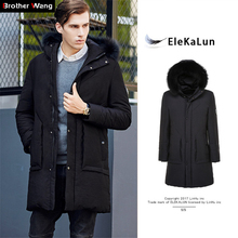 2017 Winter New Men's White Duck Down Jacket Fashion Hooded Thick Long Warm Jacket Real Hair Collar Casual Brand Coat(China)