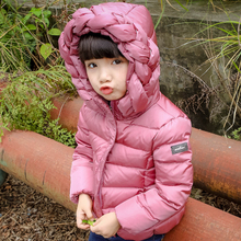 2017 Winter New Girls Fahion Down Jacket Boys Solid Casual Down Coat Children's Clothes Kids Cute Jacket With Weaved Cap A294(China)