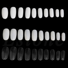 500 PCs Oval Full Round Acrylic French False Fake Nail Tips White Natural Clear