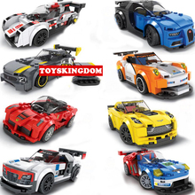 Classic racing super sport car building block world famous horse brand Bugattis Veyron benz amg fords audis Corvettes figure toy(China)