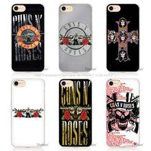 Hot sale  guns n roses Hard Transparent Phone Case Cover Coque for Apple iPhone 4 4s 5 5s SE 5C 6 6s 7 Plus