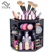 TTLIFE Europe Style Plastic Polygon Cosmetic Storage Box Pink White Black Makeup Storage Dresser Storage Boxes& Bins