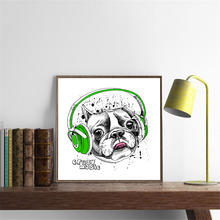 ihomemall Modern fashion crazy music dogs wall pictures Poster Nordic cute Wall Art Picture Nordic Home Decor Canvas Painting(China)