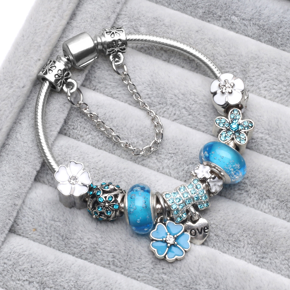 (With Box) PB1 Trendy Antique Silver Color Sea Turtle Women Charm Bracelet Green Glass European Bead Bracelet for Gift