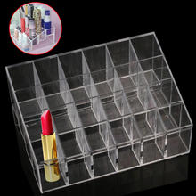 Hot Clear Acrylic 24 Lipstick Lip Gloss Holder Makeup Cosmetic Display Stand Storage Rack Organizer Make Up Case Box Container(China)