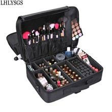 LHLYSGS Brand Suitcases Multi-storey Large Professional Cosmetic Case Nail Pattern Semi-permanent Tool Box Storage Makeup Bag(China)