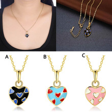 Fashion Heart Splice Pendant Adjustable Gold Chain Necklace Jewelry Accessory Ladies Girls Gifts