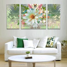 triptych abstract modern paintings on home decoration art prints on canvas  garden flowers  flower picture  ornamental