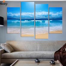 Fashion beach prints picture home decoration picture print paintings Beautiful canvas art cheap chinese painting 4 pcs/set(China)
