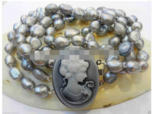LL<<< 0933 Amazing! 3 ROWS gray Irregular freshwater pearls Necklace shell clasp(China)