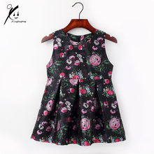Baby Girls Dress Brand Spring/Fall Floral Print Party Dresses For Girls Vintage Toddler Girl Clothing 2-7Yrs XDD-L1009