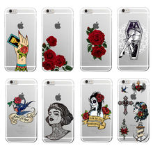 Punk Tattoo Rose Mexico Skull Girls Gang Soft TPU Phone Case Coque Funda For iPhone 7 7Plus 6 6S 6Plus 5 5S 8 8PLUS X Samsung(China)