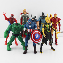 8Pcs/Set The Fashion Movie PVC Figure Toys Spider Man Hulk Thor Superman Captain America Loki Iron Man Batman Figure Toy(China)