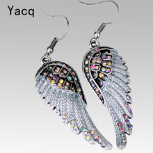 Angel wings dangle earrings antique gold silver color W crystal women girls biker bling jewelry gift wholesale dropshipping EC23(China)