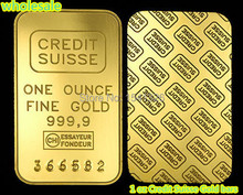 free shipping 20pcs/lot 1 oz Credit Suisse Gold bars 24k Pure Gold Plated Layered Bullion Bar Ingot Replica coin(China)