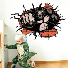 3D Wall Broken Orangutan Background Wall Decoration Removable Wall Stickers(China)