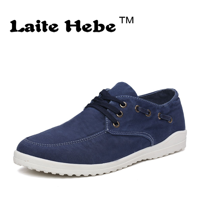 Laite Hebe Men s Shoes  2017 New High Quality  Fahion Casual Shoes  Spring Simple Style Lazy Canvas Shoes Lace-Up Led Shoes Men<br><br>Aliexpress
