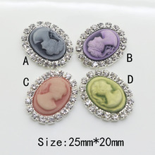 New 10pc 20*25mm Resin Oval Rhinestone Buttons clothing metal Coat button Wedding Invitation Beauty Avatar shiny diamond button