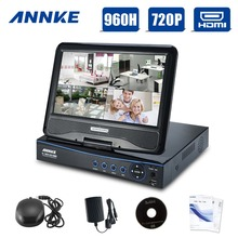 "ANNKE New 10.1"" LCD 4CH AHD 720P HD DVR NVR HVR Network for CCTV Video Surveillance System Kit All In One"