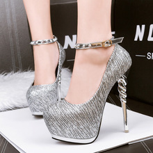 gold pumps shoes ankle strap heels women rivet shoes black sexy High Heels shoes stiletto pumps 2017 silver wedding shoes X283