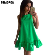 Buy Summer Women Dress A-line Beach Casual Dress Solid Sleeveless O-neck Loose Women Dress Knee Mini Ladies Dresses 2017 DLD57 for $7.01 in AliExpress store